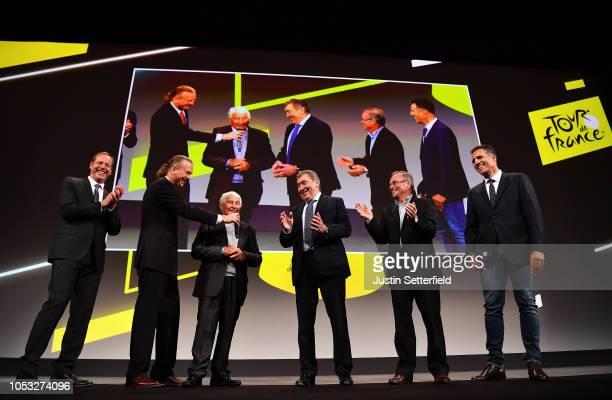 Christian Prudhomme of France Director of Le Tour de France, Raymond Poulidor Ex Pro-cyclist , Eddy Merckx of Belgium Ex Pro-cyclist, Bernard Hinault...