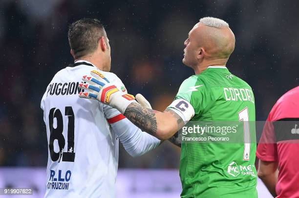 Christian Puggioni and Alex Cordaz argue during the serie A match between Benevento Calcio and FC Crotone at Stadio Ciro Vigorito on February 18 2018...