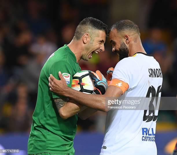 Christian Puggioni and Sandro of Benevento Calcio celebrate during the serie A match between Benevento Calcio and Genoa CFC at Stadio Ciro Vigorito...