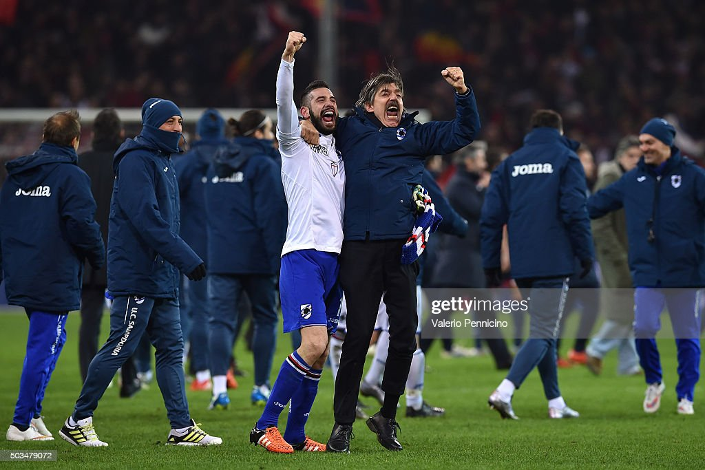 Christian Puggioni (L) of UC Sampdoria celebrates victory at the end of the Serie A match between Genoa CFC and UC Sampdoria at Stadio Luigi Ferraris on January 5, 2016 in Genoa, Italy.