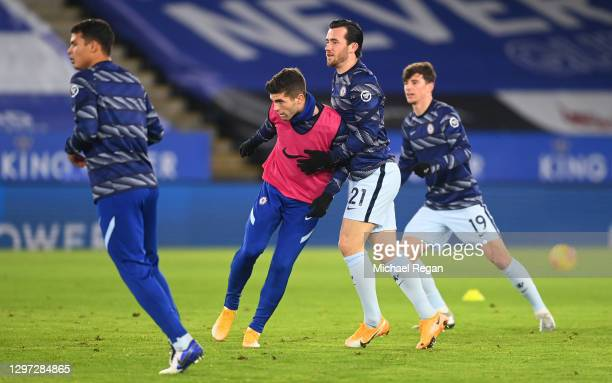 Christian Pulisic and Ben Chilwell of Chelsea warm up prior to the Premier League match between Leicester City and Chelsea at The King Power Stadium...