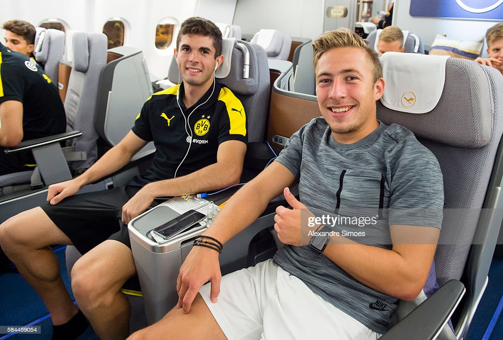 Christian Pulisic and Felix Passlack are ready for takeoff back to Germany after Borussia Dortmund's Asia Tour 2016 on July 29, 2016 in Hong Kong.