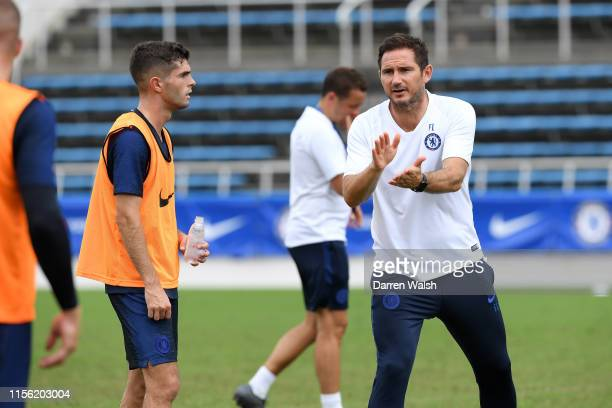 Christian Pulisic and Frank Lampard of Chelsea during a training session at Mitsuzawa Football Stadium on July 18 2019 in Yokohama Japan