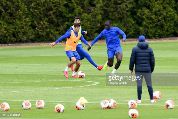 Christian Pulisic and Kurt Zouma of Chelsea during a training session at Chelsea Training Ground on June 4, 2020 in Cobham, England.
