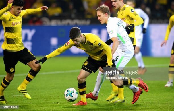 Christian Pulisic and Mahmoud Dahoud of Dortmund against Ludwig Augustinsson of Bremen during Bundesliga soccer match between Borussia Dortmund and...