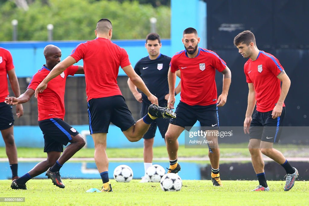 Christian Pulisic, Clint Dempsey, Bobby Wood and DaMarcus Beasley practice during the United States mens national team training session at the Ato Boldon Stadium on October 9, 2017 in Couva, Trinidad And Tobago.