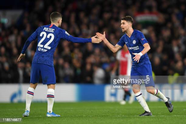 Christian Pulisic interacts with Jorginho during the UEFA Champions League group H match between Chelsea FC and AFC Ajax at Stamford Bridge on...