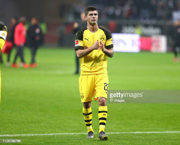 Christian Pulisic of Borussia Dortmund acknowleges the fans after the Bundesliga match between Eintracht Frankfurt and Borussia Dortmund at...