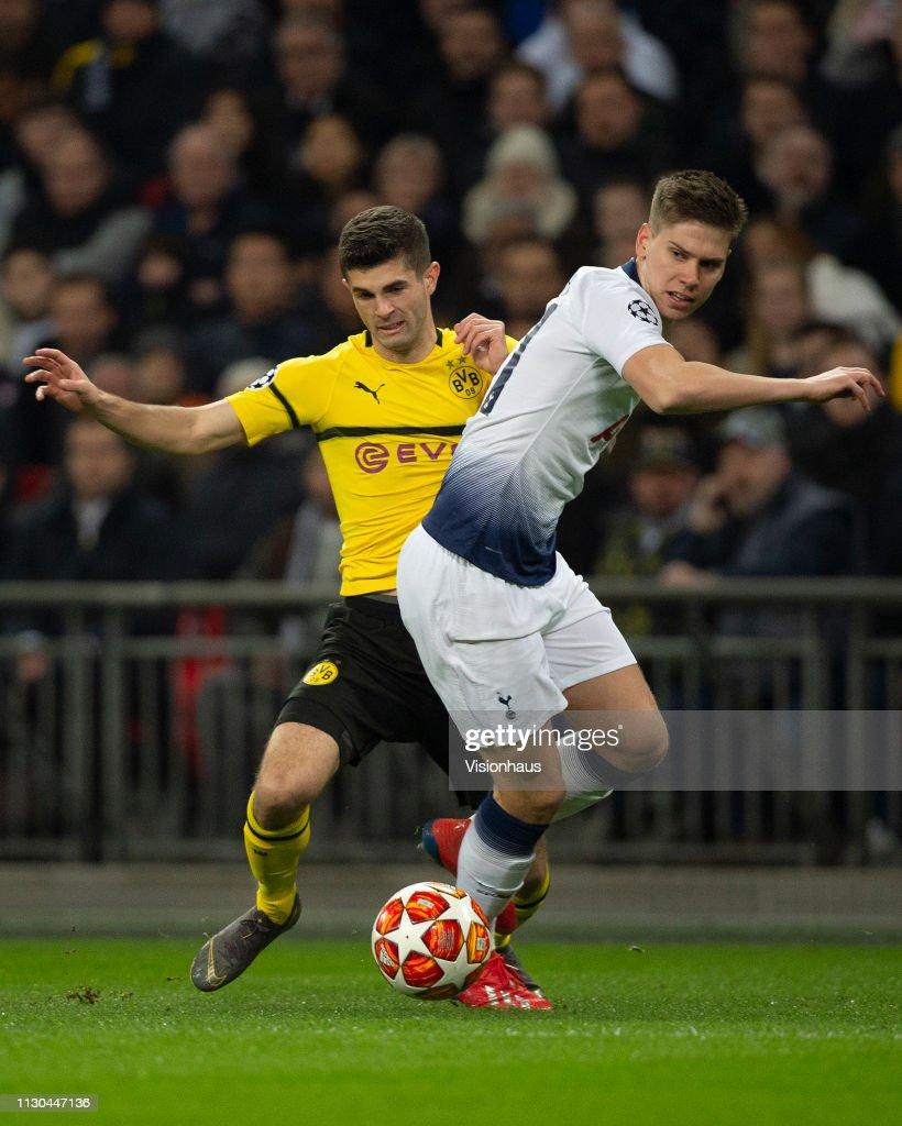Uefa Champions League Round Of: Christian Pulisic Of Borussia Dortmund And Juan Foyth Of