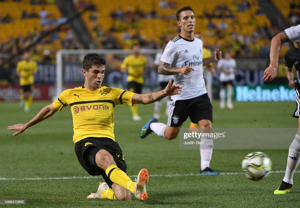 Christian Pulisic #22 of Borussia Dortmund attempts a shot in the first half during the 2018 International Champions Cup match against Benfica at Heinz Field on July 25, 2018 in Pittsburgh, Pennsylvania.
