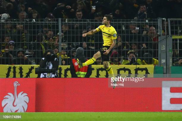 Christian Pulisic of Borussia Dortmund celebrates after scoring his team's second goal during the DFB Cup match between Borussia Dortmund and Werder...