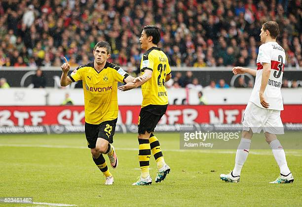 Christian Pulisic of Borussia Dortmund celebrates after scoring the second goal during the Bundesliga match between VfB Stuttgart and Borussia...