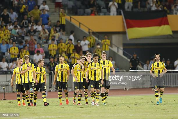 Christian Pulisic of Borussia Dortmund celebrates with team mates celebrates after he scores the first goal during the 2016 International Champions...