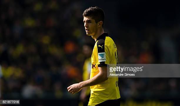Christian Pulisic of Borussia Dortmund during the Bundesliga match between Borussia Dortmund and Hamburger SV at Signal Iduna Park on April 17 2016...