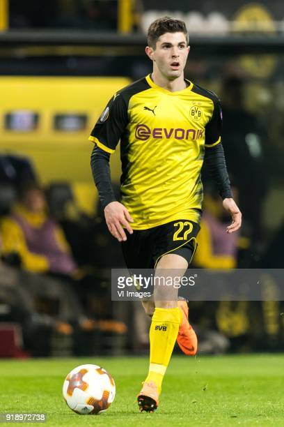 Christian Pulisic of Borussia Dortmund during the UEFA Europa League round of 32 match between Borussia Dortmund and Atalanta Bergamo at the Signal...