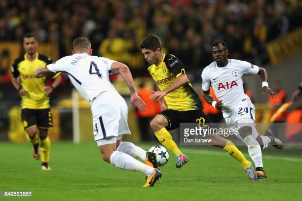 Christian Pulisic of Borussia Dortmund in action during the UEFA Champions League group H match between Tottenham Hotspur and Borussia Dortmund at...