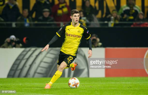 Christian Pulisic of Borussia Dortmund in action during the UEFA Europa League match between Borussia Dortmund and Atalanta Bergamo at the Signal...