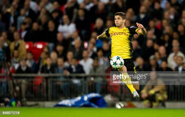 Christian Pulisic of Borussia Dortmund in action during to the UEFA Champions League First Qualifying Round 1st Leg match between Tottenham Hotspur...