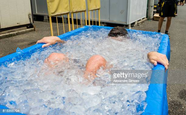 Christian Pulisic of Borussia Dortmund is cooling down in the ice bath after a training session on July 16 2017 in Tokyo Japan