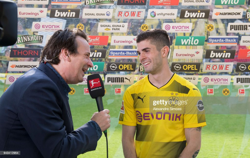 Christian Pulisic of Borussia Dortmund is giving an interview after