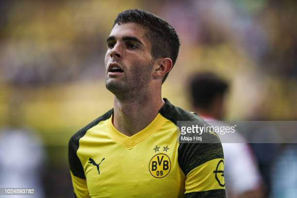 Christian Pulisic of Borussia Dortmund looks on during the Bundesliga match between Borussia Dortmund and RB Leipzig at Signal Iduna Park on August...