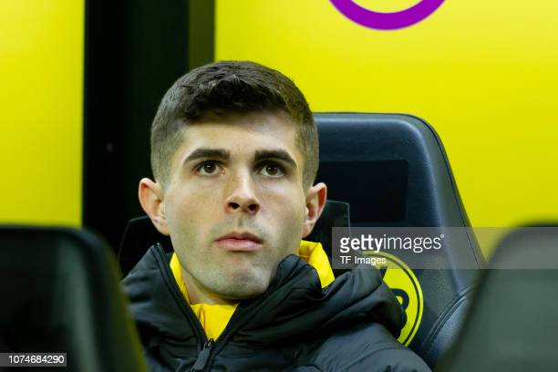 Christian Pulisic of Borussia Dortmund looks on during the Bundesliga match between Borussia Dortmund and Borussia Moenchengladbach at Signal Iduna...