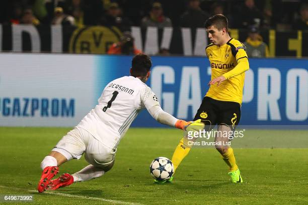 Christian Pulisic of Borussia Dortmund scores his team's second goal to make the score 20 during the UEFA Champions League Round of 16 second leg...