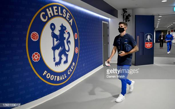 Christian Pulisic of Chelsea arrives at the stadium prior to during the Heads Up FA Cup Final match between Arsenal and Chelsea at Wembley Stadium on...