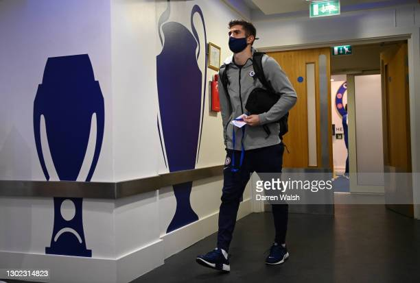 Christian Pulisic of Chelsea arrives at the stadium prior to the Premier League match between Chelsea and Newcastle United at Stamford Bridge on...