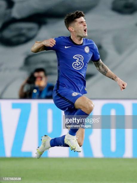 Christian Pulisic of Chelsea Celebrates 0-1 during the UEFA Champions League match between Real Madrid v Chelsea at the Estadio Alfredo Di Stefano on...