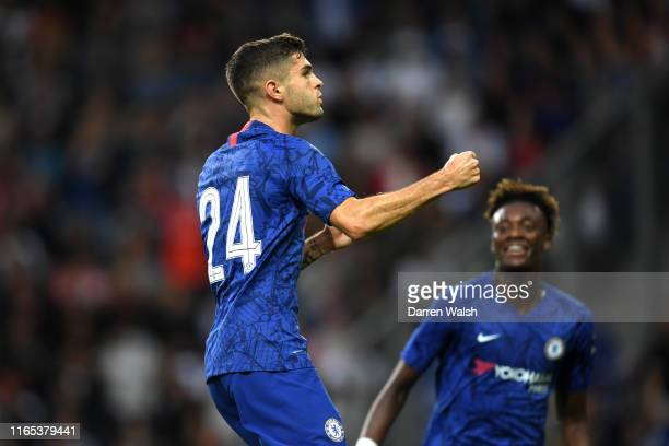 Christian Pulisic of Chelsea celebrates after he scores his sides first goal during the preseason friendly match between RB Salzburg and FC Chelsea...