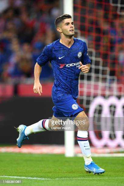 Christian Pulisic of Chelsea celebrates after he scores his sides third goal during the preseason friendly match between RB Salzburg and FC Chelsea...