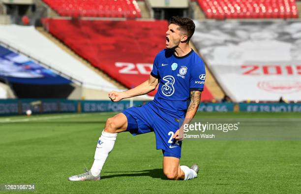 Christian Pulisic of Chelsea celebrates after he scores his sides first goal during the Heads Up FA Cup Final match between Arsenal and Chelsea at...
