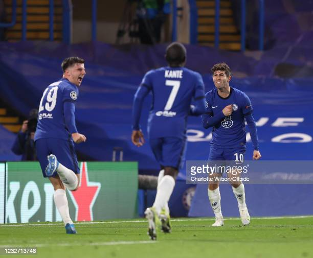 Christian Pulisic of Chelsea celebrates after making the assist for the second goal scores by Mason Mount of Chelsea during the UEFA Champions League...