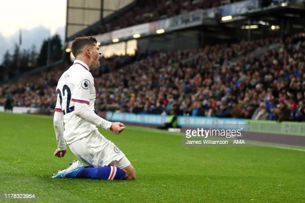 Christian Pulisic of Chelsea celebrates after scoring a goal to make it 01 during the Premier League match between Burnley FC and Chelsea FC at Turf...