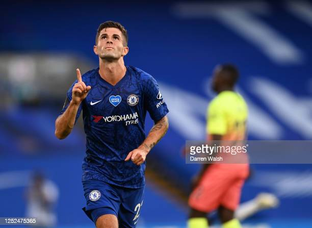 Christian Pulisic of Chelsea celebrates after scoring his sides first goal during the Premier League match between Chelsea FC and Manchester City at...