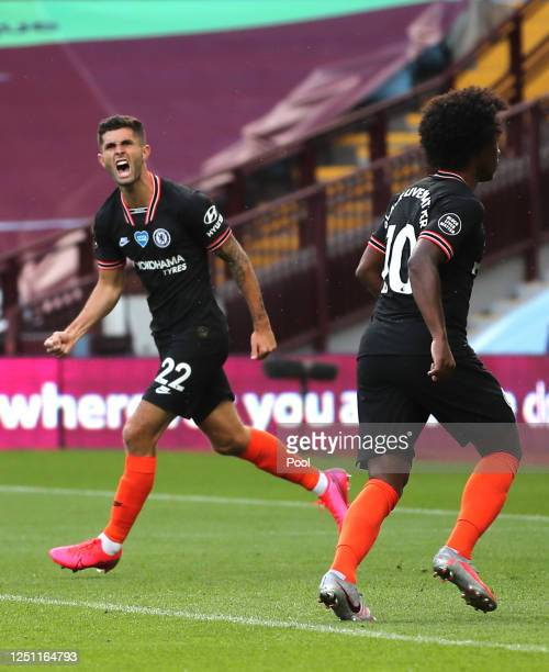 Christian Pulisic of Chelsea celebrates after scoring his teams first goal during the Premier League match between Aston Villa and Chelsea FC at...