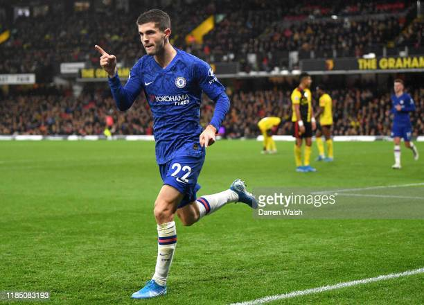 Christian Pulisic of Chelsea celebrates after scoring his team's second goal during the Premier League match between Watford FC and Chelsea FC at...