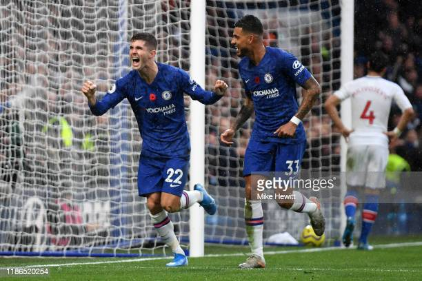 Christian Pulisic of Chelsea celebrates after scoring his team's second goal during the Premier League match between Chelsea FC and Crystal Palace at...