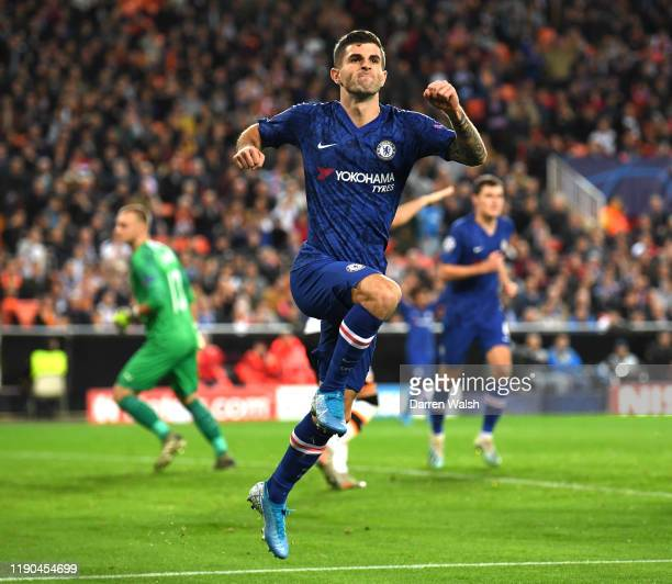 Christian Pulisic of Chelsea celebrates after scoring his team's second goal during the UEFA Champions League group H match between Valencia CF and...
