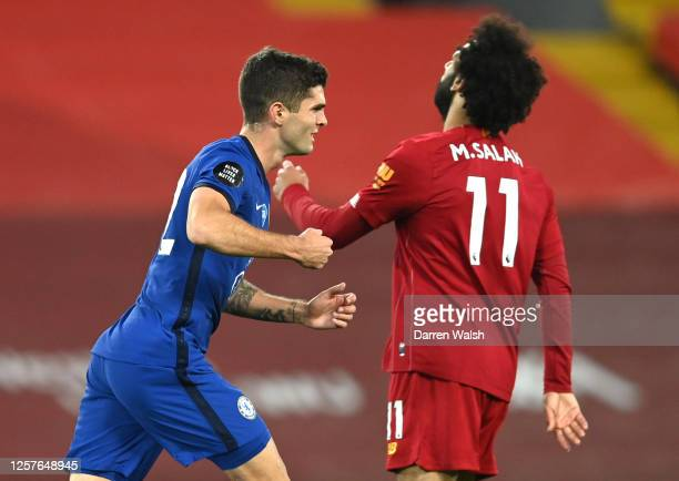 Christian Pulisic of Chelsea celebrates after scoring his team's third goal during the Premier League match between Liverpool FC and Chelsea FC at...
