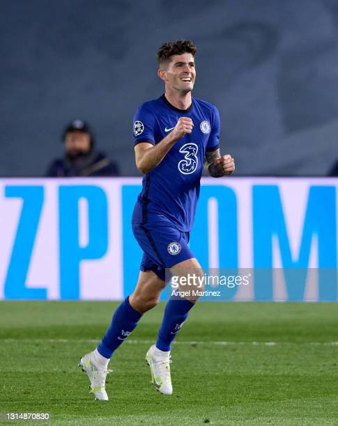 Christian Pulisic of Chelsea celebrates after scoring their side's first goal during the UEFA Champions League Semi Final First Leg match between...