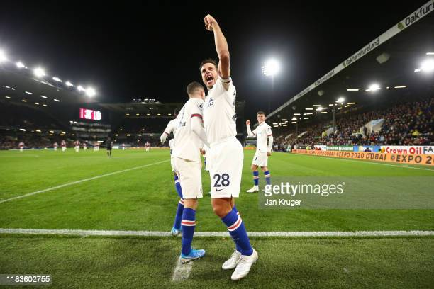 Christian Pulisic of Chelsea celebrates with Cesar Azpilicueta of Chelsea after scoring his team's third goal during the Premier League match between...