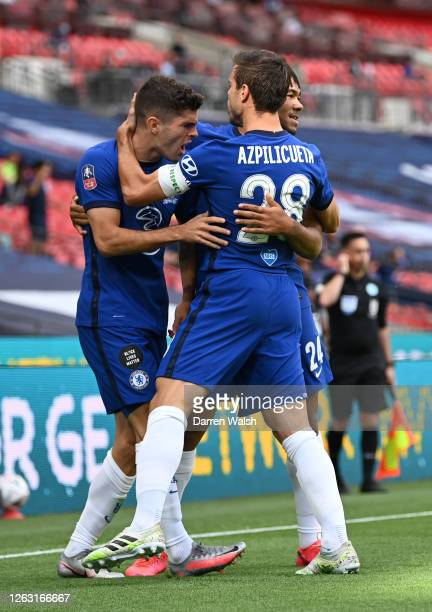 Christian Pulisic of Chelsea celebrates with Cesar Azpilicueta of Chelsea after he scores his sides first goal during the Heads Up FA Cup Final match...