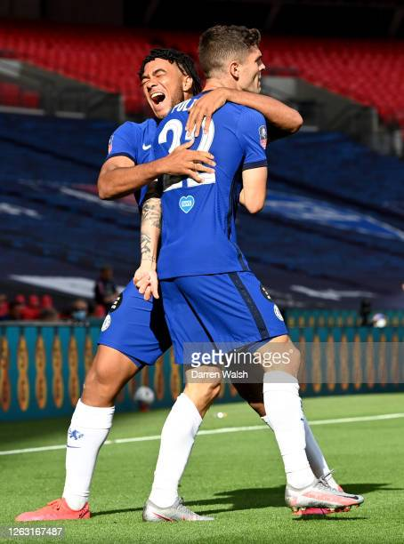 Christian Pulisic of Chelsea celebrates with Reece James of Chelsea after he scores his sides first goal during the Heads Up FA Cup Final match...