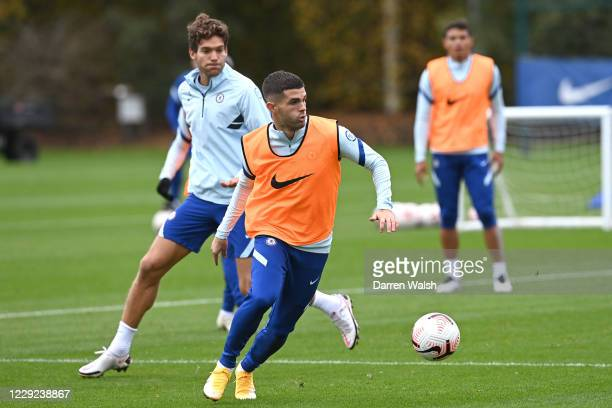 Christian Pulisic of Chelsea during a training session at Chelsea Training Ground on October 23 2020 in Cobham United Kingdom