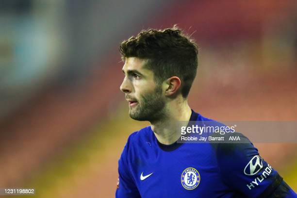 Christian Pulisic of Chelsea during The Emirates FA Cup Fifth Round match between Barnsley and Chelsea at Oakwell Stadium on February 11, 2021 in...