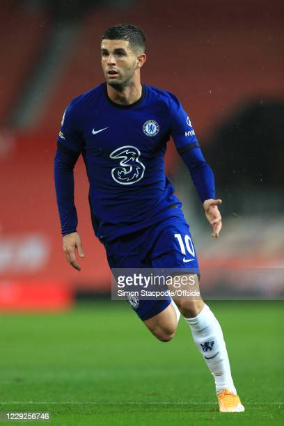 Christian Pulisic of Chelsea during the Premier League match between Manchester United and Chelsea at Old Trafford on October 24 2020 in Manchester...