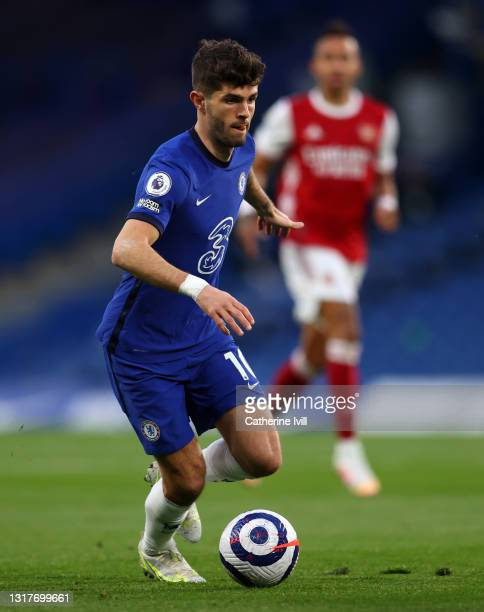Christian Pulisic of Chelsea during the Premier League match between Chelsea and Arsenal at Stamford Bridge on May 12, 2021 in London, England....