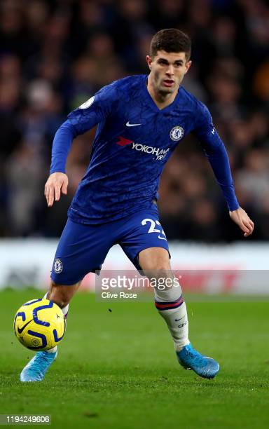 Christian Pulisic of Chelsea FC in action during the Premier League match between Chelsea and Bournemouth at Stamford Bridge London on Saturday 14th...